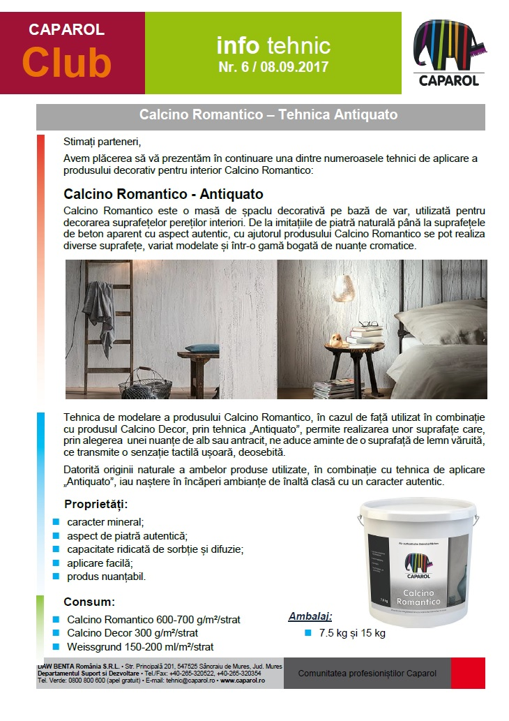 Calcino Romantico – Tehnica Antiquato
